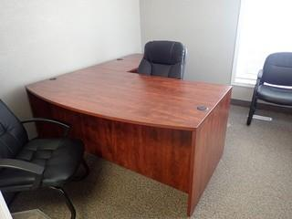 L-Shaped Desk w/ Lateral 2-Drawer File Cabinet, End Table, Task Chair, Enclosed Bookcase, and 2 Side Chairs. **LOCATED IN MILK RIVER**