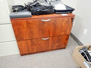 Lot of Lateral 2-Drawer File Cabinet and Enclosed Bookcase. **LOCATED IN MILK RIVER**
