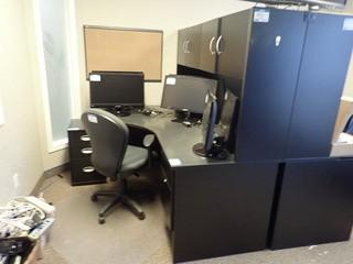 L-Shaped Desk w/ Stack-on, Task Chair and Freestanding Pedestal. **LOCATED IN MILK RIVER**