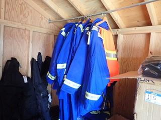Lot of Insulated Jackets and Coveralls. **MUST BE REMOVED BY MON. APRIL 29 @5PM- LOCATED IN MILK RIVER**