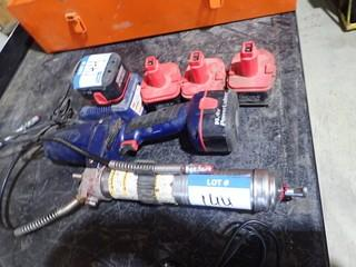 Lincoln Powerluber Cordless Grease Gun w/Charger and 5 Batteries.  **LOCATED IN MILK RIVER**