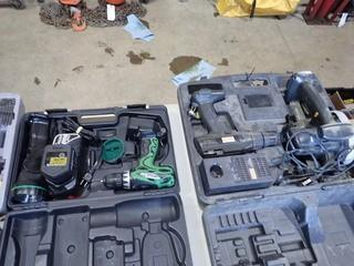 Lot of Hitachi Cordless 18V Drill and Flashlight Kit w/ Charger and 2 Batteries and Craftsman 14V Circular Saw, Drill and Charger- NO BATTERY. **LOCATED IN MILK RIVER**