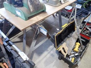 Lot of 2 Heavy Duty Steel Sawhorses and 2 Folding Tables. **LOCATED IN MILK RIVER**