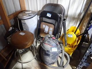 Lot of Mop Bucket, Mop, Shop Vacuum, Stool, KoolKing Portable Air Conditioner, Electric Heater, Folding Chairs and Weight Scale. **LOCATED IN MILK RIVER**