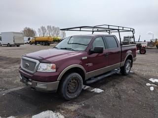 2004 Ford F150 Lariat P/U c/w 5.4L, Auto, A/C. Showing 266,626 Kms. S/N 1FTPW14554KA20487