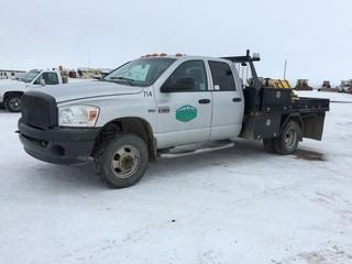 2009 Dodge 3500 4x4 Deck Truck c/w 5.7, Auto, A/C, 10' Deck. Showing 253,671 Kms. Requires Repair. S/N 3D6WH48T89G542121