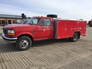 Ford F350 Service Truck c/w 7.3L Diesel, 5 Spd, A/C. Showing 185,429 Kms. S/N 2DJF37F8TCA55450