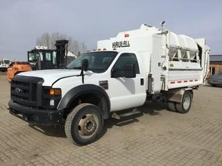 2009 Ford F550 Super Duty XLT Refuse Truck c/w 6.4L Diesel, Auto, A/C, 16 Cubic Meter Haul All Compactor, Side Load. Showing 270,518 Kms. S/N 1FDAF56R49EA87290