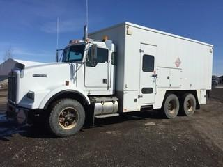 2001 Kenworth T800B T/A Lube Truck c/w Cat C-15 475 HP, 18 Spd, General Van Body, Tower Tailgate, (3) Oil Pumps, (2) Grease Pumps, (1) Air Pump, (1) Glycol Pump, (1) EVAC Pump, (5) Graco Pumps, (1) Husky Pump, PTO, (6) Outside Work Lights (2) Each Side & (1) At Rear, 385/65R22.5 Front, 11R22.5 Rear Tires. Showing 246,239 Kms & 12,080 Hours. Work Orders Available. Wheatland County. Unit # 553. Safety Expires Jun 2019. S/N 1NKDLB0X21R963057