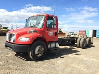 2006 Freightliner Business Class T/A C&C c/w Cat C7, 9 Spd , A/C, Air Ride Susp., 11R22.5 Tires. Showing 570,054 Kms. Safety Expires May 2019. Note: Requires Repair. S/N 1FVHCYDC46DW04847