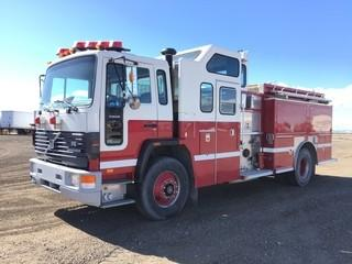 1995 Volvo S/A Pumper Truck c/w Cat Diesel, Auto, 315/80R22.5 Front, 12R22.5 Rear Tires. Showing 61,061 Kms & 2,680 Hours. S/N 4V52AFED8SR474037