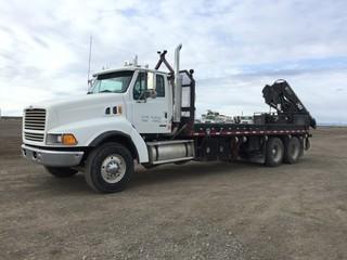 2000 Sterling T/A Picker Truck c/w Cat C-12 430 HP, 13 Spd, A/C, 14,600 LB Front, 46,000 LB Rear Axles, Hiab 144E05 Folding Crane, 23' Deck. 109,039 Miles. Safety Expires Apr 2020.    Rebuilt Status. S/N 2FZXEWEB0YAG90111
