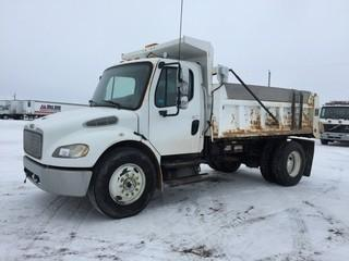 2006 Freightliner S/A Gravel Truck c/w Mercedes 230 HP, Auto, 12' Box, 11R22.5 Tires. Showing 69,650 Kms & 2,392 Hours. Safety Expires Aug 2019. S/N 1FVACYCS56HX02501