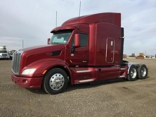2013 Peterbilt 587 T/A Truck Tractor c/w Paccar, 18 Spd., A/C. Air Ride Susp., 275/80R24.5 Tires. Showing 1,222,558 Kms. Work Orders In Office. Safety Expires Dec 2019. S/N 1XPBDP9X8DD193341
