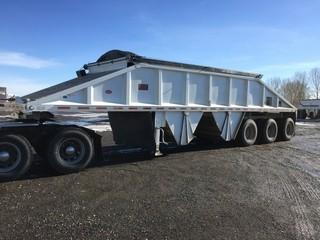2012 Decap Triaxle Belly Dump Trailer c/w Air Ride Susp., Electric Tarp, 11R22.5 Tires.  Work Orders Available. Wheatland County. Unit # 596. Safety Expires July 2019. S/N 2D9DS4C33CL017017
