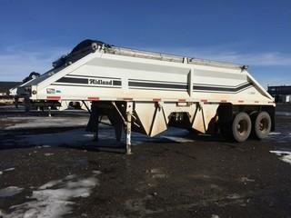 2002 Midland MG29MX2000 T/A Belly Dump Trailer c/w Air Ride Susp., Electric Tarp, 11R22.5 Tires.  Work Orders Available. Wheatland County. Unit # 558. Safety Expires July 2019. S/N 2MFB2S6C12R001838