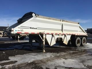 2005 Midland T/A Belly Dump Trailer c/w Air Ride Susp., Electric Tarp, 11R22.5 Tires.  Work Orders Available. Wheatland County. Unit # 568. Safety Expires Aug. 2019. S/N 2MFB2S6C55R003046