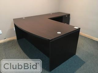 "L-Shaped Desk 6'x42"" w/2 Filing Cabinets & (2) Drawer Sets"