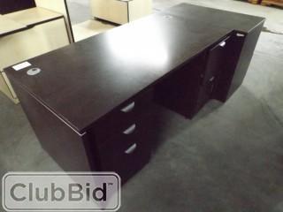"""5'x30"""" Desk w/2 Drawer Sets & (1) Filing Cabinet"""