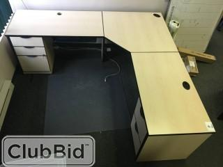 L-Shaped Desk 6.5'x6.5' w/5 Drawers and Lateral Filing Cabinet