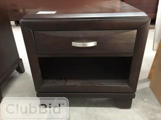 Dark Wood Night Stand w/1 Drawer & 1 Shelf