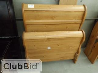"Twin Bed Frame Set c/w Headboard, Footboard & Rails, Qty of (2) 2 Drawer Night Stands 2'x17""x2' & 6 Drawer Dresser 51""x17""x32"""