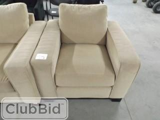 Qty of (2) Beige Arm Chairs & Beige Loveseat - Fabric