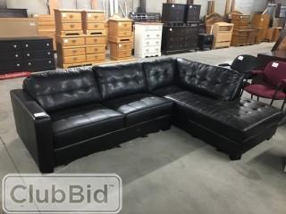 Black Leather Sectional 6'x6.5'