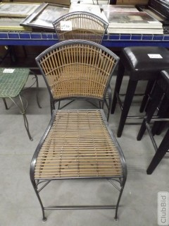 Qty of (2) Metal Frame Wicker Chairs