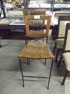 """Qty of (2) Wicker Bar Stools 30"""" At Seat"""