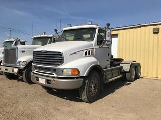 Selling Off-Site 2001 Sterling LT9500 T/A Day Cab Truck Tractor, Eaton Fuller 18 Speed Transmission, Chelsea PTO, 11R 24.5 Tires, 698,170 kms, 26,669 hrs, S/N 2FWJAZCG51AJ13981.  Location:  339 Aquaduct Dr., Brooks, AB Call Tim For Further Information 403-968-9430.