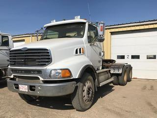 Selling Off-Site 2004 Sterling LT9500 T/A Day Cab Truck Tractor, Mercedes OM 460, Eaton Fuller 18 Speed Transmission, Chelsea PTO, 11R 24.5 Tires, 800,127 kms, 28,410 hrs, S/N 2FWJAZCV04AM46799.  Location:  339 Aquaduct Dr., Brooks, AB Call Tim For Further Information 403-968-9430.