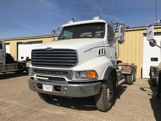 Selling Off-Site 2005 Sterling LT9500 T/A Day Cab Truck Tractor, Mercedes OM 460, Eaton Fuller 18 Speed Transmission, Chelsea PTO, 11R 24.5 Tires, 498,000 kms, 21,162 hrs, S/N 2FZHAZCV55AN60073.  Location:  339 Aquaduct Dr., Brooks, AB Call Tim For Further Information 403-968-9430.