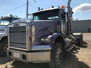 Selling Off-Site 2004 Freightliner T/A Day Cab Truck Tractor, Eaton Fuller 18 Speed Transmission, Chelsea PTO, 11R 24.5 Tires, 640,432 kms, 21,769 hrs, S/N 1FUJALCK84DM72695, Not Running.  Location:  339 Aquaduct Dr., Brooks, AB Call Tim For Further Information 403-968-9430.