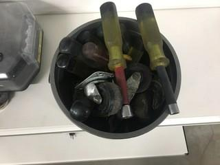 Bucket of Nut Drivers and Castors