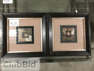 "Qty of (2) Framed Leaf Prints 16"" x 16"""