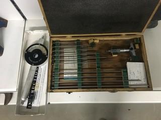 """Lot of Depth Micrometer and Drum Gauge 12"""" to 18"""" Diameter"""