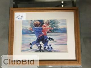 "Framed Painting of Children Playing 23"" x 19"""