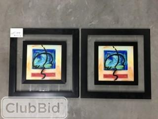 "Qty of (2) Framed Abstract Prints 19"" x 19"""
