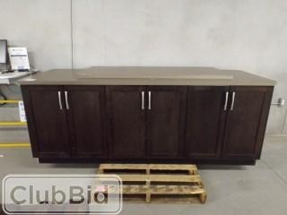 "Bar Cabinet 93"" x 32"" x 3' w/ 3 cabinets & Extra 5' x 25"" Slab"