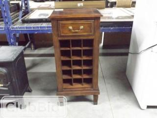 """Wood Wine Cabinet w/ Drawer. Holds 15 bottles. 17"""" x 14"""" x 41"""""""