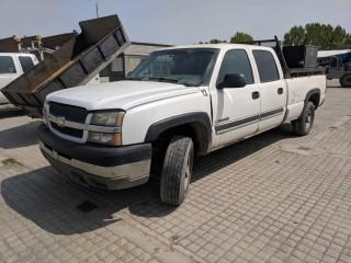 2004 Chev 2500 HD Crew Cab 4x4 P/U c/w V8, Auto, A/C. Showing 240598 Kms. S/N 1GCHK23U34F177197.