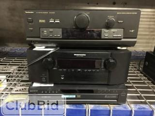 Technics SA-DX750 Receiver, Marantz SR4023 Receiver, and Sony DVP-NC625 Five Disc CD/DVD Player