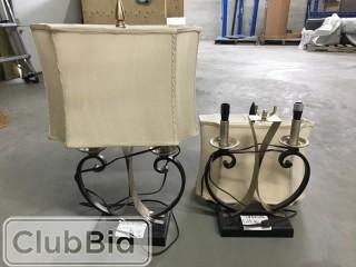 Qty of (2) Bronze Lamps w/ Cream Shades