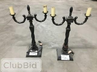 Qty of (2) Rustic Black Lamps