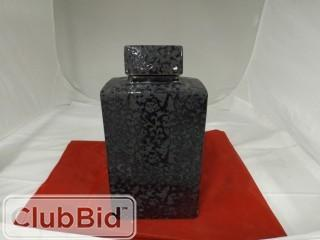 Black patterned Floor Vase w/ Lid