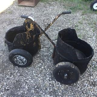 Qty Of (2) Rolling Tar Mop Buckets