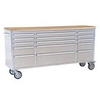 """NEW  72"""" 15 Drawer Stainless Steel Tool Chest HTC7215W"""