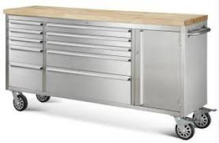 """NEW  72"""" 10 Drawer Stainless Steel Tool Chest HTC7210W"""