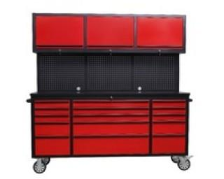"""NEW  72"""" Red Powder Coat Steel 15 Drawer Tool Chest c/w 3 Overhead Cabinets HTC7218RCR"""